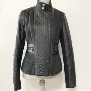 DKNY Jeans faux leather and wool moto jacket